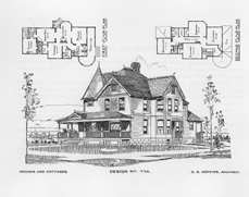 Historic House Plans::Antique House Plans::Bungalow, Queen Anne