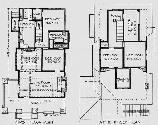 Craftsman mail order bungalow house plans 1903 for Bungalow designs and floor plans