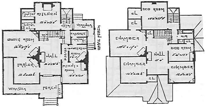 Old House plans from the 1800s with home office, for narrow lot